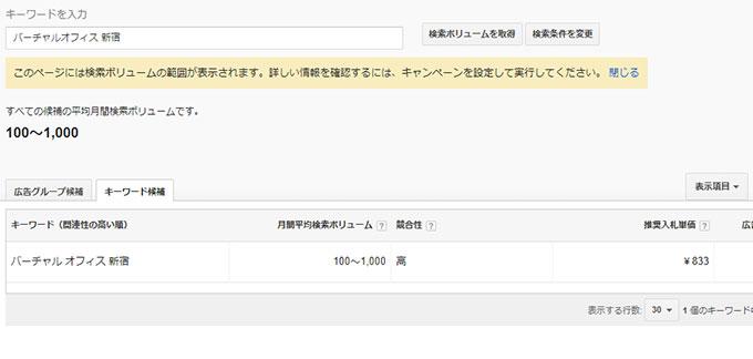 「バーチャルオフィス-新宿」キーワードプランナー